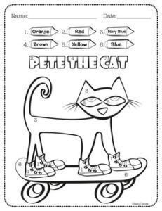 """FREE Activity - Pete the Cat - Activities: Enjoy this fun activity to help your students' creativity after reading Kimberly & James Dean's """"Pete the Cat"""" books. - Color by Number with 6 different colors.- Draw and write about Pete- Pete Can and Pete Has- Beginning Of School, First Day Of School, Back To School, School Stuff, Memorial Day, Pete The Cats, Pete The Cat Games, Kindergarten Freebies, Kindergarten Classroom"""