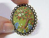 Ähnliche Artikel wie Apple Tree Ring - Handgemachter Schmuck, Polymer Clay Applique, Flower Ring auf Etsy