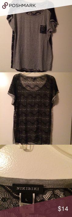 Grey T-Shirt with black lace back Sophisticated T-Shirt. Worn twice Nikibiki Tops Tees - Short Sleeve