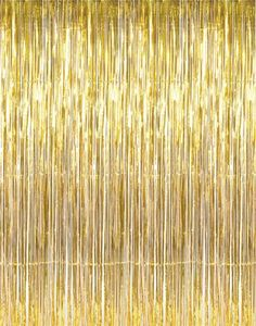 $9.99 on Amazon. GIFTEXPRESS Metallic Gold Foil Fringe Curtain set of 2/Photo Backdrop/hanging Tinsel/Hanging curtain/foil fringe window cutain/doorway curtain/entrance curtain