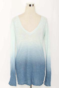 Banana Republic Blue Long Sleeve Ombre Light Sweater Size L 1987 T1215