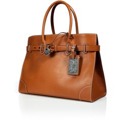 RALPH LAUREN COLLECTION Cognac Rl Gold Spectator 40 Calfskin Tote ($5,030) ❤ liked on Polyvore