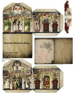 Christmas printable - Victorian Christmas House - works as miniature