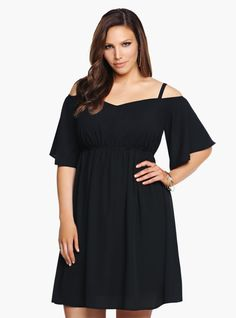 Plus Size Off-The-Shoulder Chiffon Dress