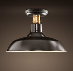 Restoration Hardware Vintage Barn Flushmount - does not come in brushed/satin nickel - this one is bronze