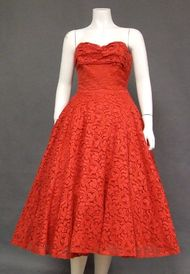 Fiery Red Lace Strapless 1950's Prom Dress w/ Matching Jacket