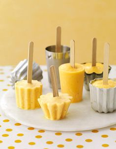 Orange-Banana Smoothie Pops made with orange juice concentrate.