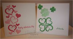 Toni Tessler (tonistamps) Independent Stampin Up Demonstrator.   A Nice Cuppa, Valentine's, St. Patrick's Day, Watermelon Wonder, Cucumber Crush, cards