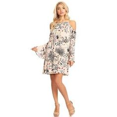 Young Essence soft chiffon #floral cold shoulders #dress, #longsleeves, romantic & relax fit. #fashion #women #daydress #spring #womenwear