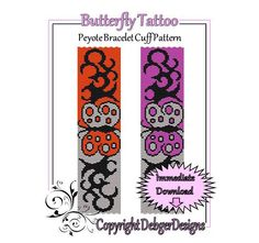 Butterfly Tattoo - Beaded Peyote Bracelet Cuff Pattern