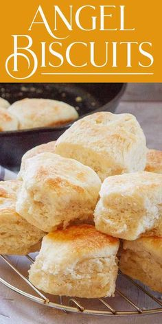 Angel Biscuits Are you ready for the lightest, fluffiest biscuits ever? Angel biscuits have a heavenly texture because they're made with baking soda, baking powder, AND yeast. Angel Biscuits, Fluffy Biscuits, Homemade Biscuits, Recipe For Biscuits, Easy Biscuit Recipe, Breakfast Biscuits, Homemade Breads, Baking Soda Biscuits, Crack Crackers