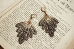 lace earrings PHILLISE ombre ecru gray by tinaevarenee on Etsy, $20.00