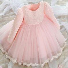 Baby To Kids Lace Flower Girl Dress With Puff Skirt