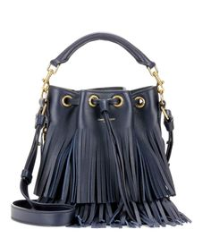 Saint Laurent - Small Bucket fringed leather tote - Tote the sleek navy-hued design by the top handle, or wear it cross-body with the detachable shoulder strap. - @ www.mytheresa.com