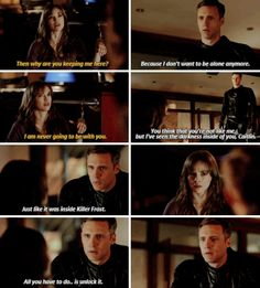 """""""I've seen the darkness inside of you, Caitlin. Just like it was inside Killer Frost. All you have to do... is unlock it"""" - Zoom/Hunter and Caitlin #TheFlash"""