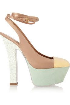 YVES SAINT LAURENT  Obsession satin and suede pumps