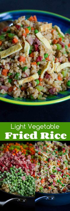 Light Vegetable Fried Rice with Pork…Skip the take-out and cook up a batch of flavorful, healthier fried rice at home. Packed with vegetables! 275 calories and 7 Weight Watchers SmartPoints (Paleo Pork Fried Rice) Rice Recipes, Side Dish Recipes, Asian Recipes, Vegetarian Recipes, Cooking Recipes, Healthy Recipes, Cooking Ideas, Yummy Recipes, Chicken Recipes