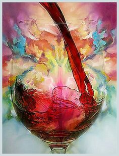 Pouring Red Wine glass Art  __[eBay.com] #cRainbow #cMulti  #edit