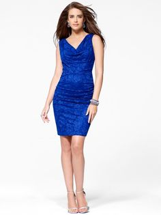 Beautiful in Blue...(Blue Cowl Neck Lace Dress #CacheStyle)