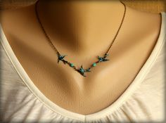 Three Speckled Bluebirds Necklace.