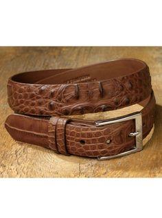 Mens Mid-Brown Silver Buckled Motif Crocodile//Alligator Hornback Leather Belt