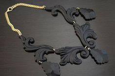 DIY Easy + Gorgeous Wooden Flourish Gold Chain Necklace   DIY ...