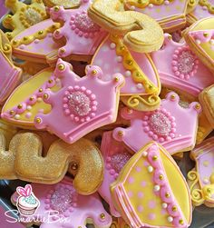 Princess Tea Party Cookies, tiaras, number 5s and teacups in yellow, gold and pink - SmartieBox Cake Studio