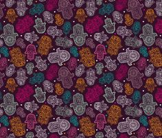 Hamsa hand of fatima moroccan arabic ornament pattern fabric by littlesmilemakers on Spoonflower - custom fabric