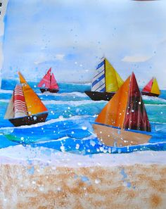 Fine Lines - Sailboats Lesson. Love this, so neat! Will have to do during the summer.