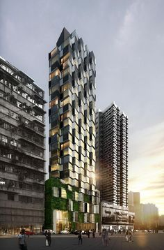 Composite Building by Aedas. This luxury apartment building in Hong Kong references the local vernacular of overcrowded high-rise towers covered in ad hoc extensions. A As Architecture, Futuristic Architecture, Contemporary Architecture, Contemporary Apartment, Residential Architecture, Building Facade, Building Design, Future Buildings, Iron Balcony