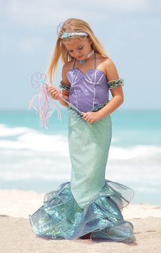 This girls' Magical Mermaid Costume from Chasing Fireflies comes with a sparkling cape to keep her warm and pretty accessories to make her feel special, whether she wears it on Halloween or just for fun. Fairy Tale Costumes, Girl Costumes, Adult Costumes, Halloween Costumes, Girls Mermaid Costume, Fancy Dress, Dress Up, Mermaid Kids, Mermaid Top