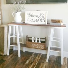 DIY console table from old stools - simple and beautiful -@orchardslope