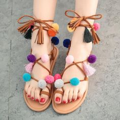 54fd72f23bb783 Bohemia flower colorful hair ball flip flops and female students newest  style multi-color flat sandals clip toe beach lace up fringe colorful pom  sweet ...