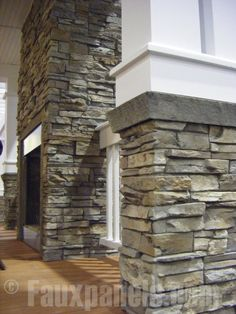Faux stone panels add weatherproof elegance to this outdoor fireplace and columns Stacked Stone Panels, Faux Stone Panels, Faux Panels, Home Design Decor, House Design, Design Ideas, Purple Bedroom Design, Stone Facade, Stone Exterior