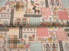 Japanese Kokka Cotton Print Fabric - Folk Country Girl, Animal Donkey - Kawaii & Lovely Glitter Lame - JapanLovelyCrafts