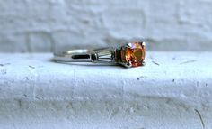 Gorgeous Vintage Platinum Padparadscha Sapphire and Diamond Engagement Ring - 1.20ct.