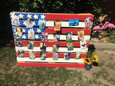 Pallet flag decoration, red, white and blue Birthday, Fourth of July, First Birthday party, sunflower birthday decor, baby pictures display