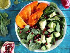 Persimmon Avocado Pomegranate Salad -  peasandpeonies