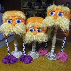 Lorax hats I made for my family :)  Love how they turned out!!