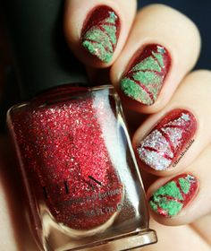 """Christmas Tree nail design over ILNP's """"Cherry Luxe"""" from the new Holiday 2015 Collection <3"""