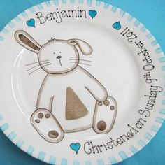 This cute little bunny rabbit plate is personalised especially for you and makes a beautiful #christening gift. Available in pink or blue.
