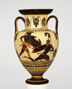 Scenes from the Iliad - Black-Figured Neck Amphora-deadly close combat between Trojan & Achaean warriors- ca. 500-480 BC- @GettyMuseum