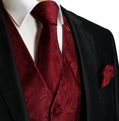 Spice up your formal suit with this Burgundy and Black Paisley Tuxedo Vest Set. This tuxedo vest set includes the vest, a matching necktie and pocket square. Wedding Vest, Red Wedding, Wedding Suits, Wedding Ideas, Wedding Poses, Wedding Pictures, Fall Wedding Tuxedos, Wedding Details, Men's Tuxedo Wedding