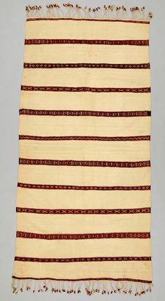 Africa   Shawl ~ handira ~ from the Berber people living in the Middle Atlas Mountains of Morocco   ca. 1930 - 1970   Wool and cotton.