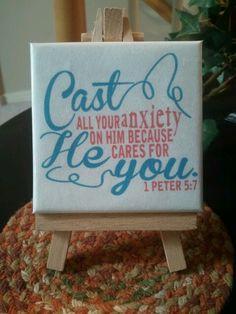 DIY mini scripture canvas on easel