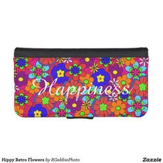 Hippy Retro Flowers iPhone SE/5/5s Wallet - $29.95 - Hippy Retro Flowers iPhone SE/5/5s Wallet - by #RGebbiePhoto @ #zazzle - #Flowers #Hippy #Retro - Colorful retro style flowers, hippy style in bright colors! Large petal flowers in a jumbled assortment. 70s Hippy look, great throwback item!
