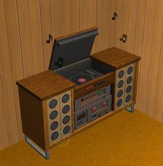 TheNinthWaveSims: The Sims 2 - 70's, 80's 90's Stuff 70's Turntable