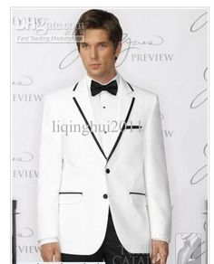 Wholesale High quality white two button Groom Tuxedos men's suits groom prom suits beach wedding dress, Free shipping, $89.6-125.44/Set | DHgate