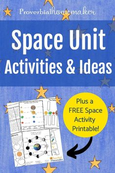 Teach your kids about the wonders of creation with this Space Unit printable pack and a roundup of space activities to go with it! #homeschool #preschool #kindergarten #printable Space Activities For Kids, Science For Kids, Science Activities, Science Ideas, Teaching Science, Homeschool Kindergarten, Preschool Lessons, Unit Studies, The Unit