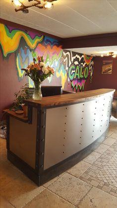 Custom Made Modern Metal Industrial Reception Desk Vintage Industrial Furniture, Industrial Office, Modern Industrial, Salon Reception Desk, Reception Desk Design, Receptionist Desk, Interior Design Elements, Metal Desks, Spa Design
